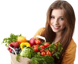 Girl with bag of fresh food