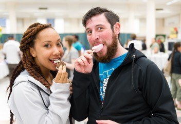 Two people eating ice cream