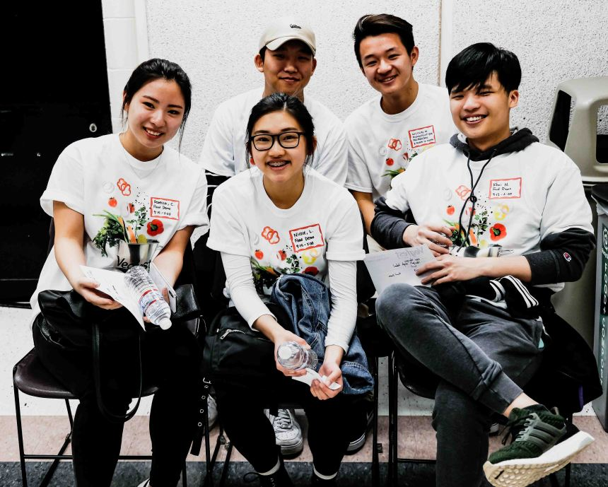 Group of volunteers wearing t-shirts